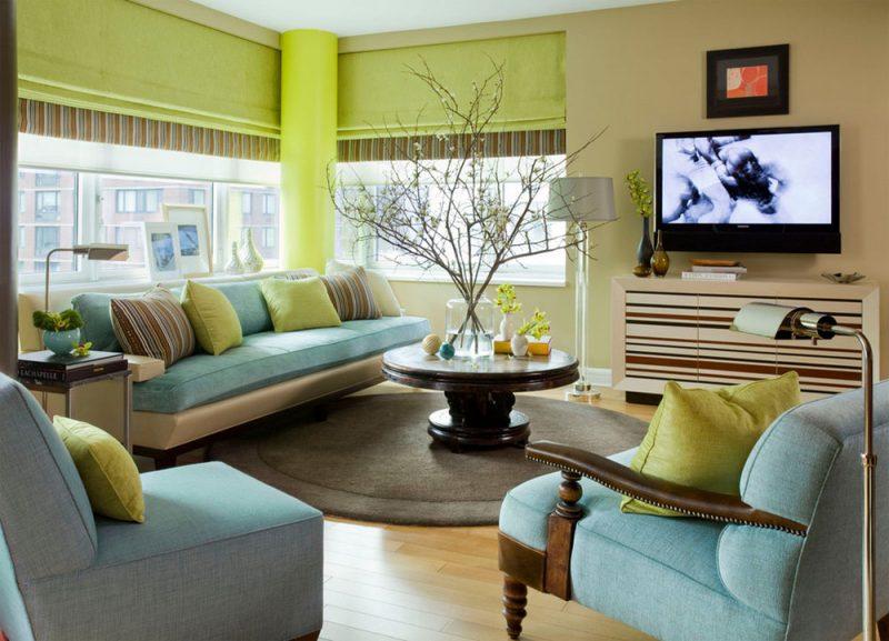 Phối màu xanh lá và xanh dương cho phòng khách