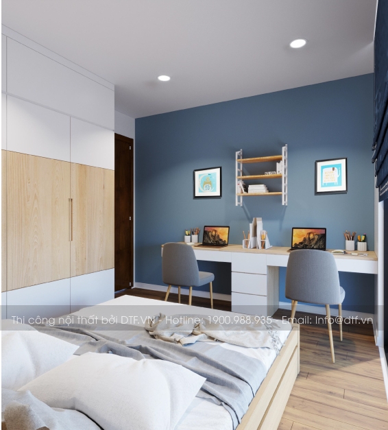 Thi công nội thất chung cư 2 phòng ngủ tại cầu giấy