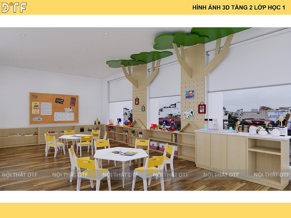 Thiết kế thi công trường mầm non Bambi K300 An Trạch, Hà Nội